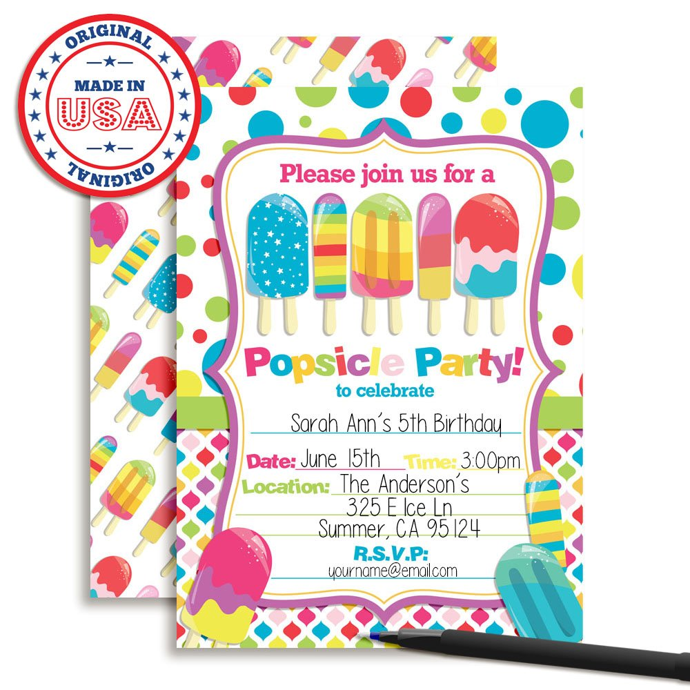 Amazon Amanda Creation Popsicle Birthday Party Invitations Set Of 20 Fill In Cards Including Envelopes Toys Games