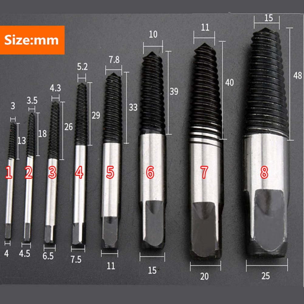 8 piece Easy Out Screw Extractor Set,Damaged Screw Broken Bolt Water Pipe Remover Set By Nizzco by Nizzco (Image #3)