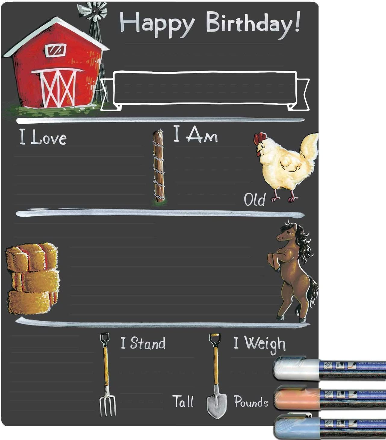 Cohas Birthday Milestone Board with Farm Theme and Reusable Chalkboard Style Surface 9 by 12 Inches White Marker