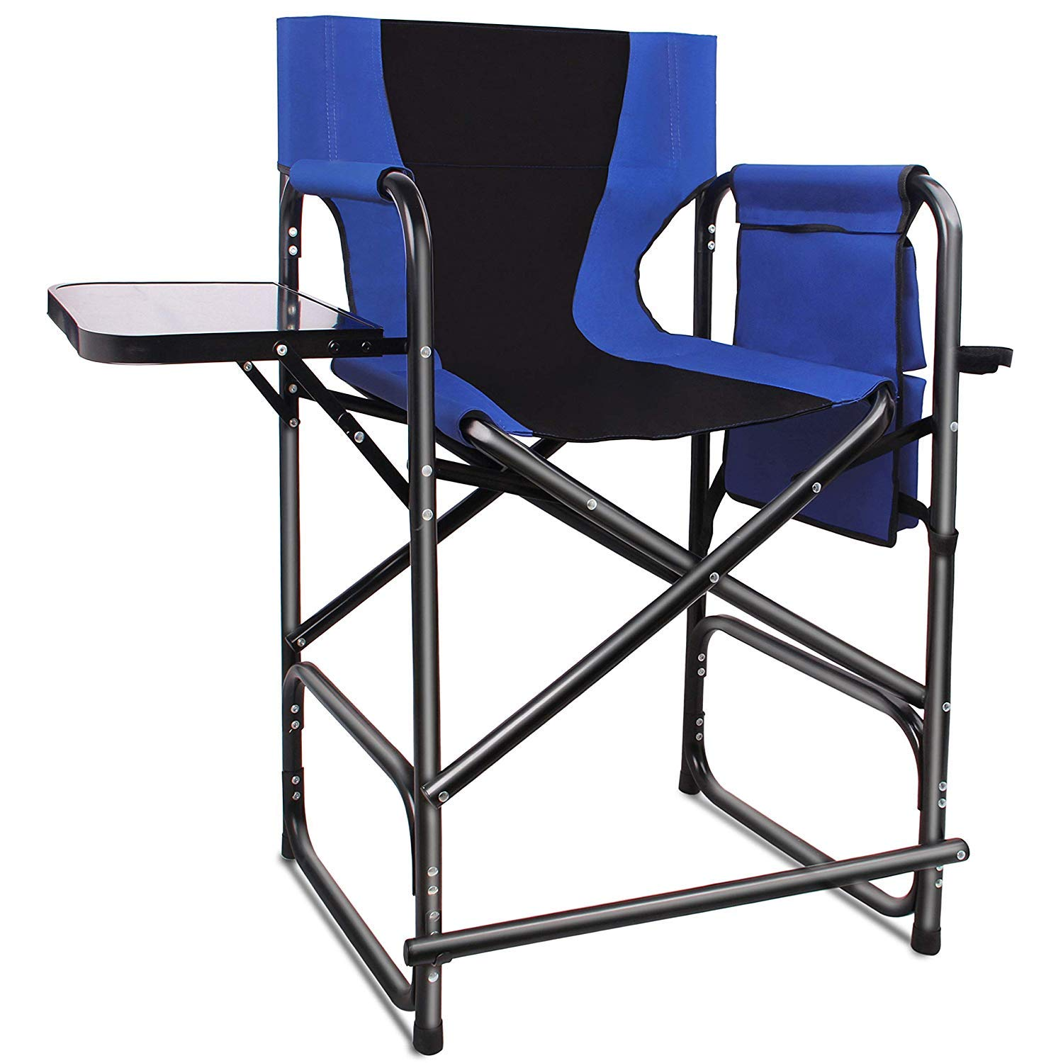 Tall Folding Directors Chair Portable Camping Chair - Lightweight Full Aluminum Frame Makeup Artist Chair with Side Table Storage Bag Footrest 300 lbs Supports 24 inch Seat Height by AGOOL