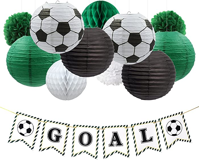 NICROLANDEE Soccer Party Decorations Package Goal Party Banner Hanging Paper Lantern Tissue Flowers Pom Poms Honeycomb Ball for World Cup Soccer Sports Themed Birthday Party Decor Kit