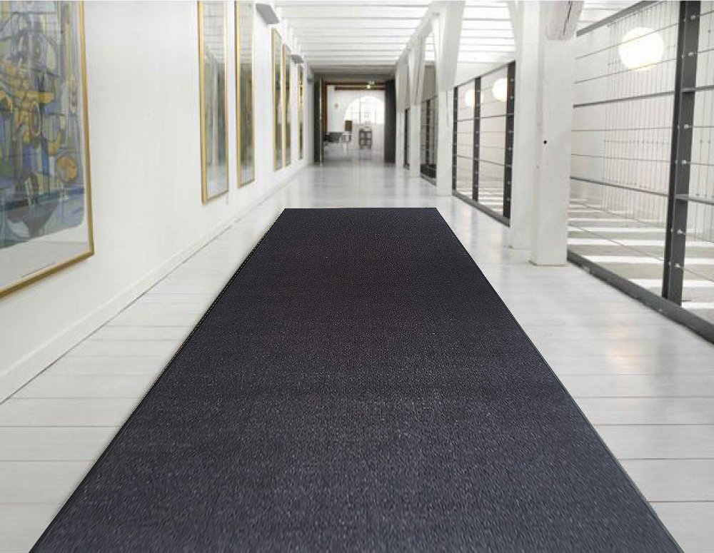 "Ottomanson Ottohome Collection Solid Design Hallway Wedding Aisle Runner Rug (Non-Slip) Rubber Backing Area Rug, 1'10"" X 12'0"", Black"