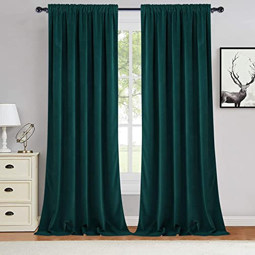 Haperlare Green Velvet Curtains 96 inches Super Soft Luxury Room Darkening Velvet Drapes Elegant Home Decor Window Covering