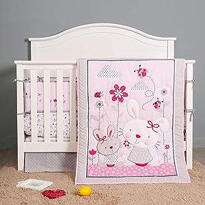 7 Piece Floral Garden Baby Girl Crib Bedding Set Newborn Nursery Bedding with Bumper,Baby Gift Pink Grey