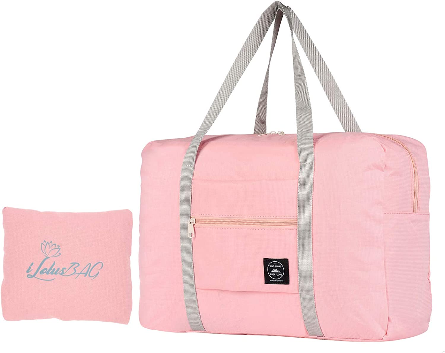 iLotusBAG Foldable Travel Duffel Bag Tote Carry on Luggage Lightweight Nylon Sport for Women Girls