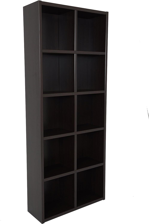Boraam Techny Collection Calder Hollow Core Bookcase, Espresso