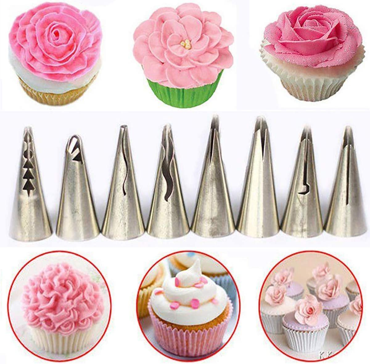 8Pcs Nozzles Tool Cake Baking Decorating Kit Set Piping tips Pastry Icing Bag