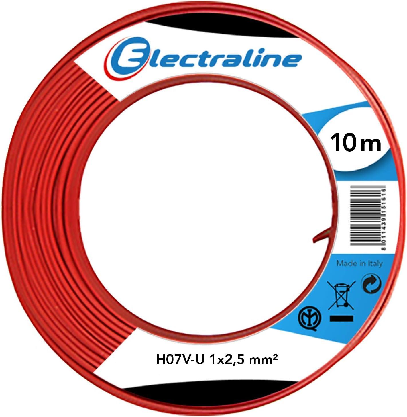 Rot L/änge 10 m Electraline 60101025A Kabel H07V-U Abschnitt 1x2,5 mm/²