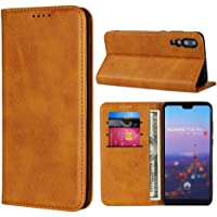 Cavor for Huawei P20 Pro Case,Cowhide Pattern Leather Magnetic Wallet Case Cover with Card Slots-Light Brown