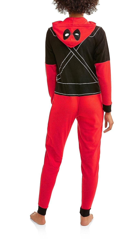 Marvel Deadpool Womens Cozy Fleece Union Suit Hooded Pajamas