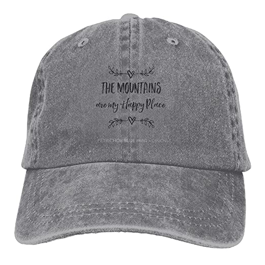 The Mountains are My Happy Place Men s Black Adjustable Vintage Washed  Denim Baseball Cap Dad Hat Trucker Cap at Amazon Men s Clothing store  77e97b1c790