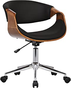 Armen Living Geneva Office Chair in Black Faux Leather and Chrome Finish