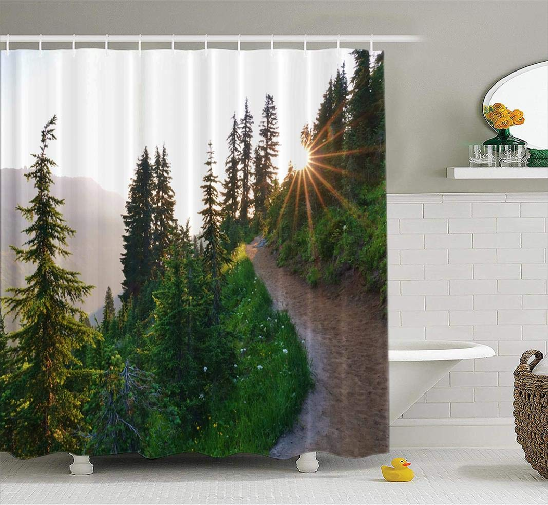 Tyfuty Wildflowers Fabric Shower Curtain, 72x78 inches Beautiful Morning Sunburst Evergreen Trees Trail National ParkWaterproof Bathroom Shower Curtains Set of 12 Hooks, Beautiful Morning