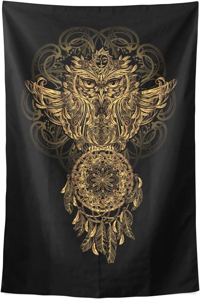 ALAZA Gold Owl and Dream Catcher Tribal Mandala Polyester House Tapestries Room D cor 60×90 Inch Style Decorative Wall Blanket