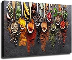 Kitchen Spice Wall Art Decoration HD Spoon Spice Seasoning Food Photography Art Canvas Oil Painting Mural Home Office Party Decoration Bedroom Decoration (32
