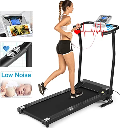 ANCHEER Folding Treadmill, Electric Motorized Treadmill with LCD Monitor, Walking Jogging Running Machine Trainer Equipment for Home Office Workout Indoor Exercise Machine