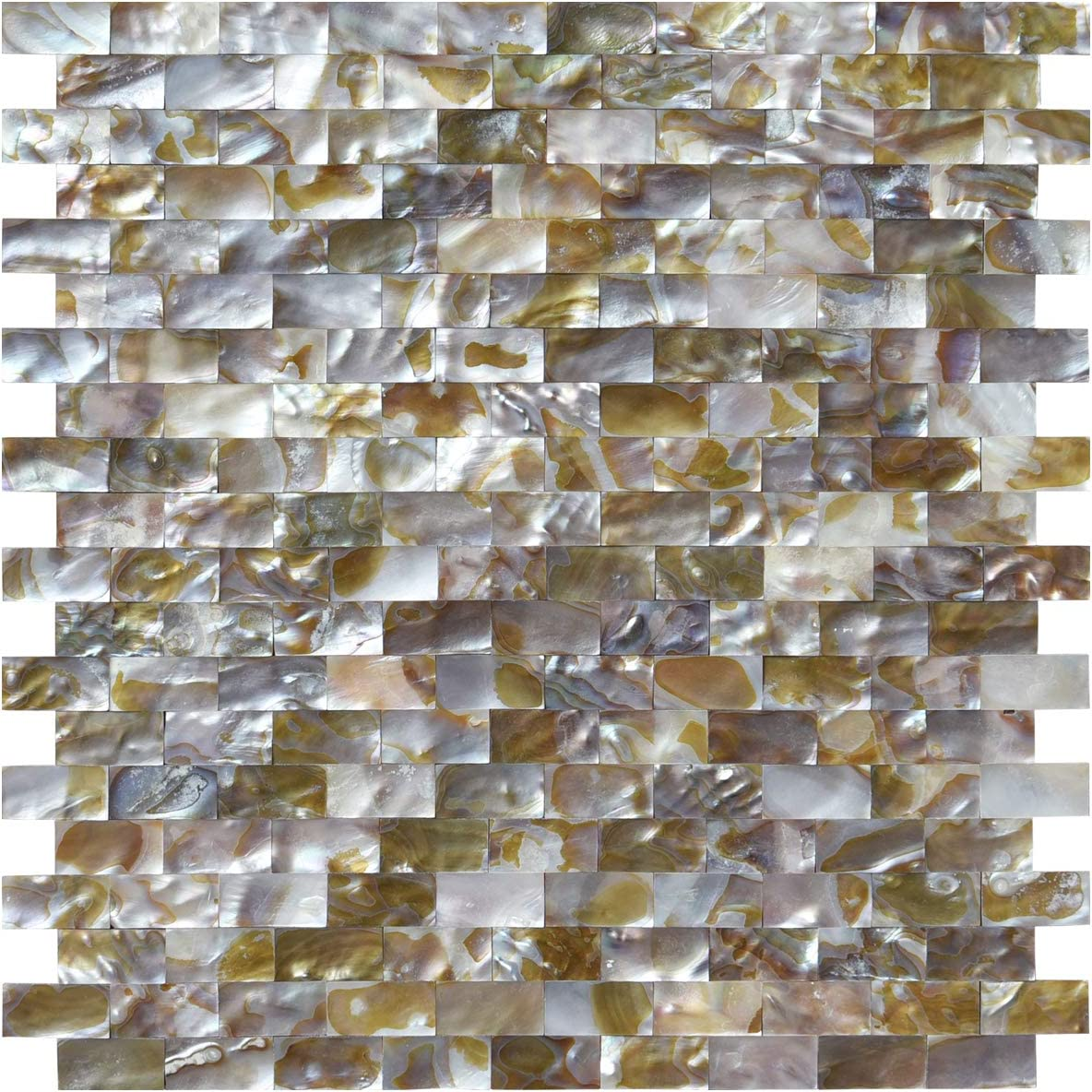 - Art3d Natural Mother Of Pearl Oyster Mini Brick Shell Mosaic Tile
