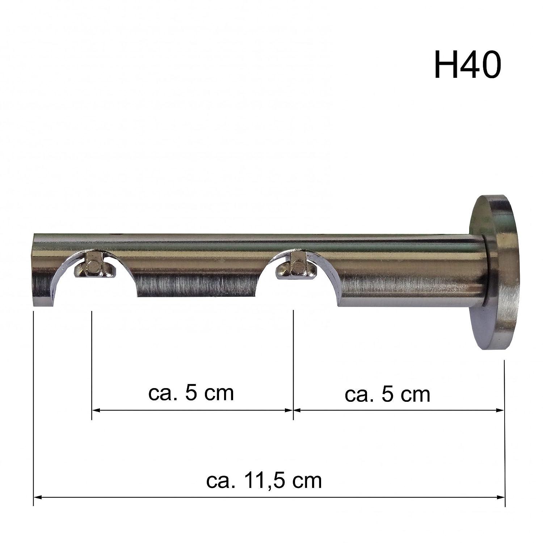 Innenlauf Gardinenstange Edelstahl Look 20mm Wandträger 2-läufig Zylinder, Länge Länge Länge wählbar H40 E34E30, Länge:280 cm 0fa7dd