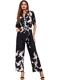 a9270554252 ROMWE Women s Self Tie Wide Leg overall Siberian Crane Bird Graphic Print  Long Pant Shirt Romper