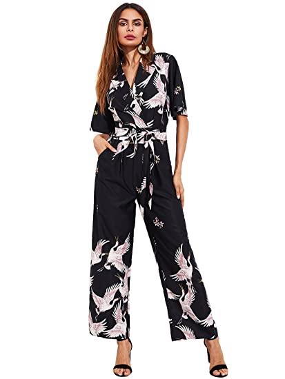 5da29673a048 ROMWE Women's Self Tie Wide Leg overall Siberian Crane Bird Graphic Print  Long Pant Shirt Romper Jumpsuit: Amazon.co.uk: Clothing