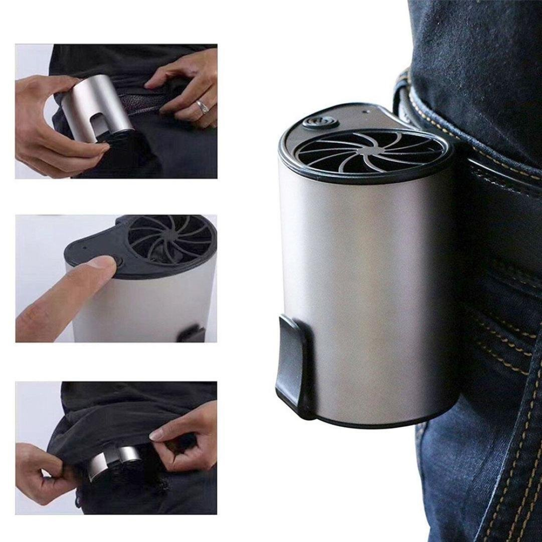 Ecosin Mini Portable Waist Fan Cool Air Hand Held USB Rechargeable Travel Blower Cooler (Silver)