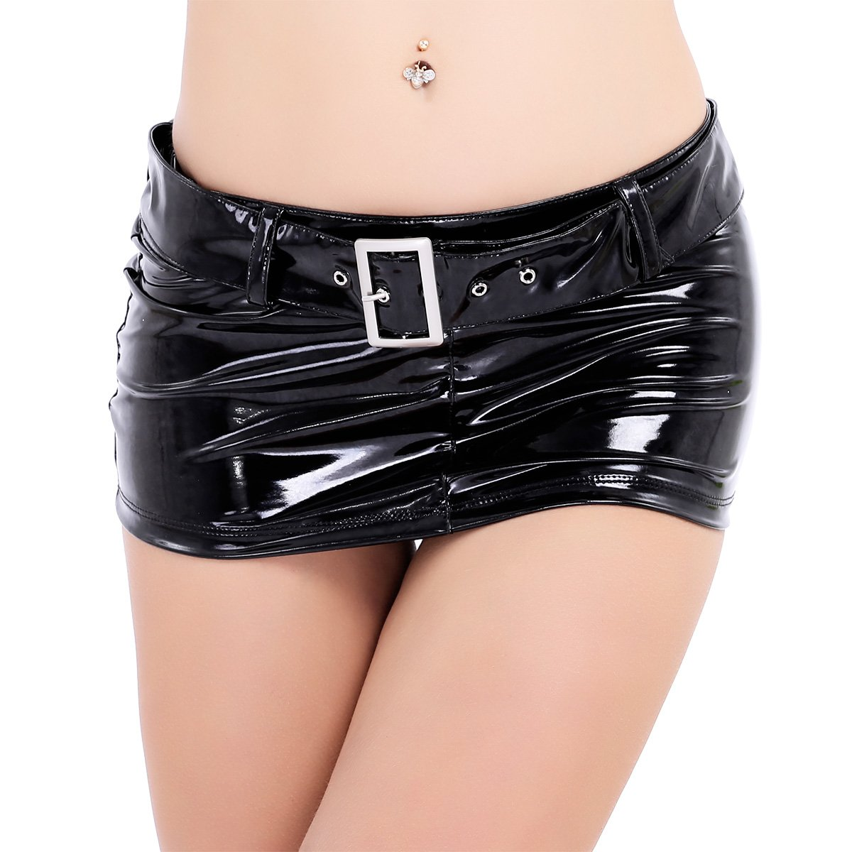 IEFiEL Womens Patent Leather Wetlook Clubwear Mini Skirt With Waist Belt Loops