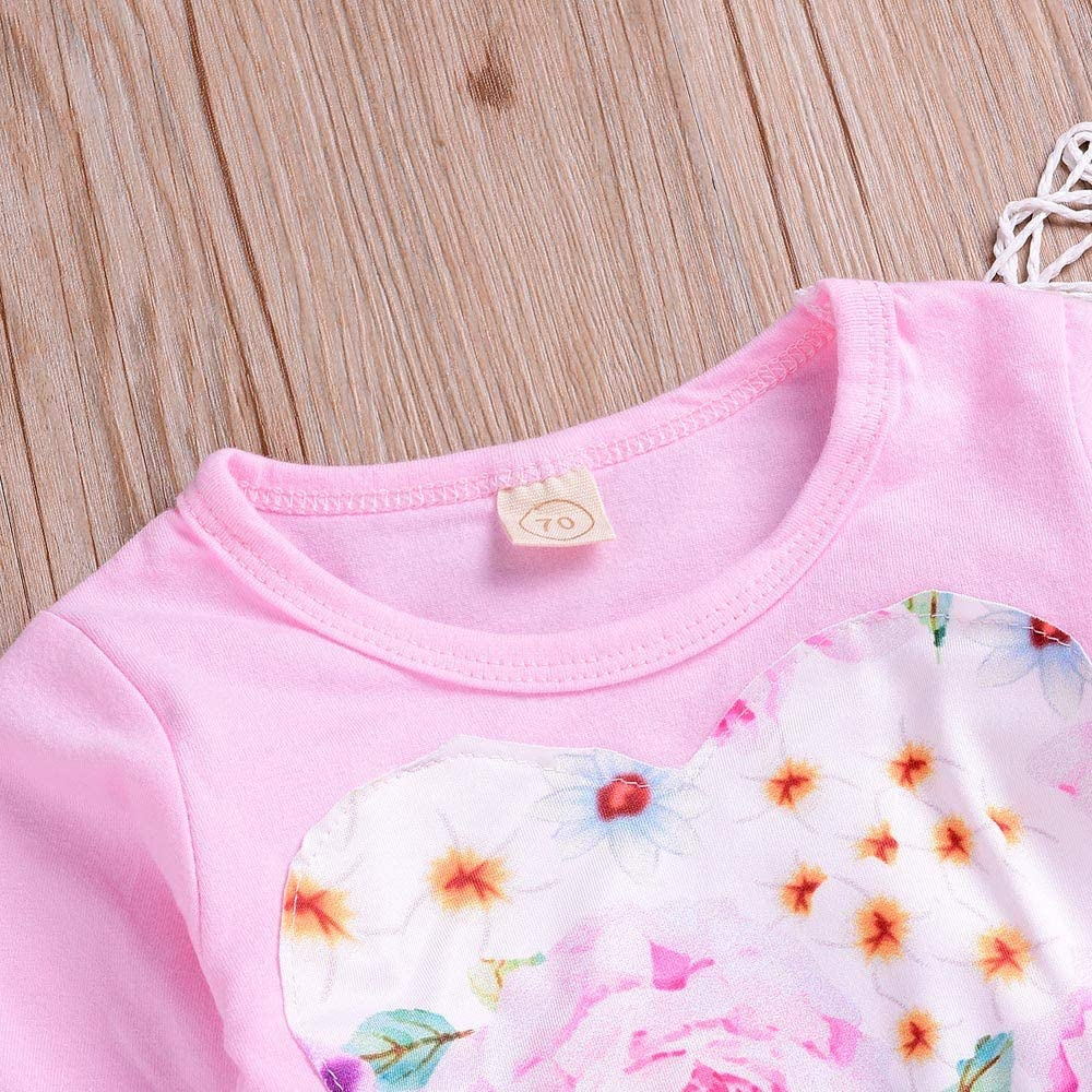 Newborn Baby Girls Outsuit Princess Clothes Set Floral Applique Heart Print Winter Blouse Top Pant Hat Set