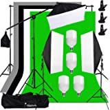 Abeststudio Photography Video Studio Softbox Lighting Kit 4X 25W LED Continuous Lighting with 4 Backdrops 6.6ft x 6.6ft Background Stand Support System for Photo Studio Product Portrait Video Shooting
