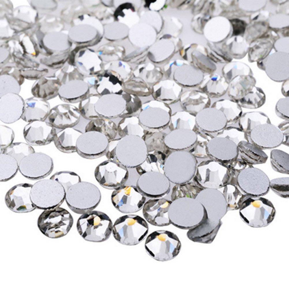 CAOLATOR 1440pcs/bag 1.6mm Zircon Rhinestones Micro Crystal Mini Nail Art Nail Accessories Tiny Mini Strass Micro Diamant Slivoïde Des ongles Paillettes Fond plat Diamants(Blanc)