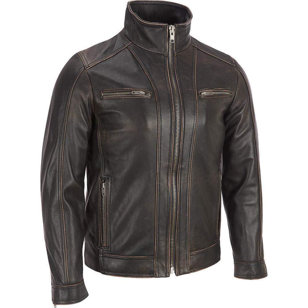 echtes Rindsleder verblichene Kanten Superior/Leather/Garments schwarze Herren-Lederjacke