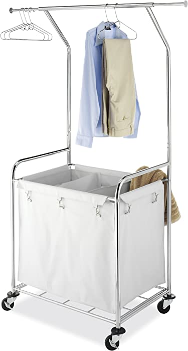 Whitmor Commercial Rolling Laundry Center with Removable Liner and Heavy Duty Wheels