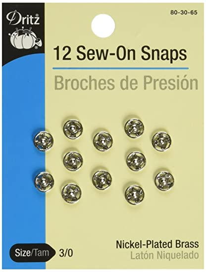 Dritz 80-30-65 Sew-On Snaps, Nickel-Plated Brass, Size 3/0 12-Count