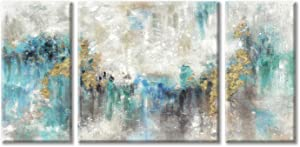 Abstract Canvas Textured Wall Art: Mixed Media Abstract Painting Teal &Gold Foil Artwork for Living Room ( 12'' x 24'' x 2 + 24' 'x 24'' )