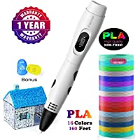 3D Printing Pen, Parner 3D Pen with LCD Screen, Safe and Easy to Use 3D Pens for Kids Adults, 3D Drawing Pen with 16 Colors PLA Filament Refills. (3D Printing Pen)