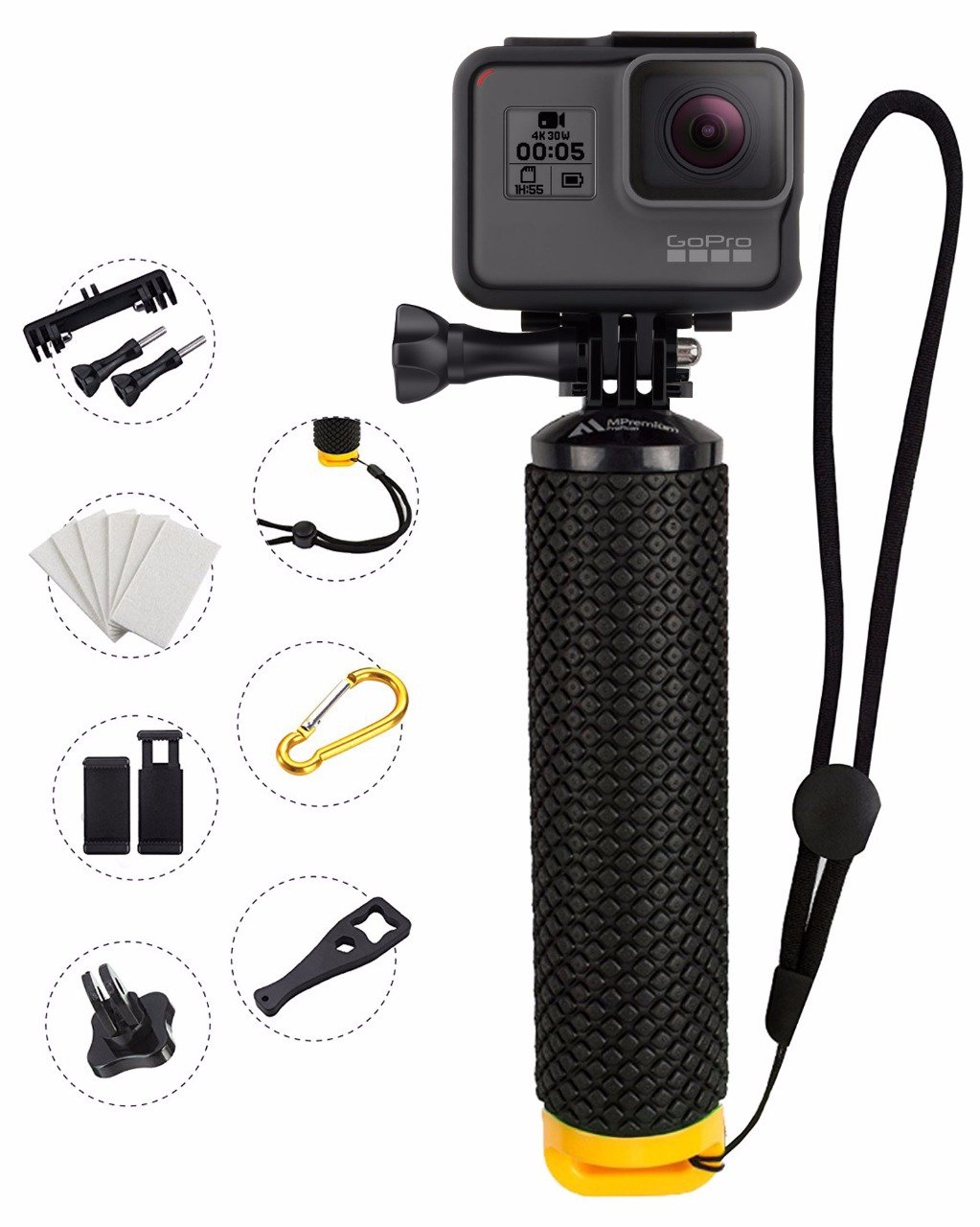 MiPremium Waterproof Floating Hand Grip Compatible with GoPro Cameras Hero Session Black Silver Hero 2 3 3+ 4. Handler Plus Free Handle Mount Accessories for Water Sport and Action Cameras (Yellow) by MiPremium