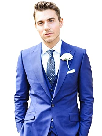 4d7031f0c9 Lilis® Men s Royal Blue Men Suit 3 Pieces Wedding Suits Groom Tuxedos