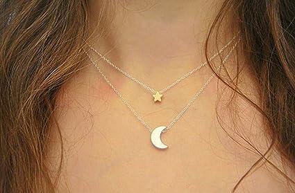 0a375f8a2271 Primi Collar moderno PriMI para mujer con doble cadena con colgante de  estrella y luna (