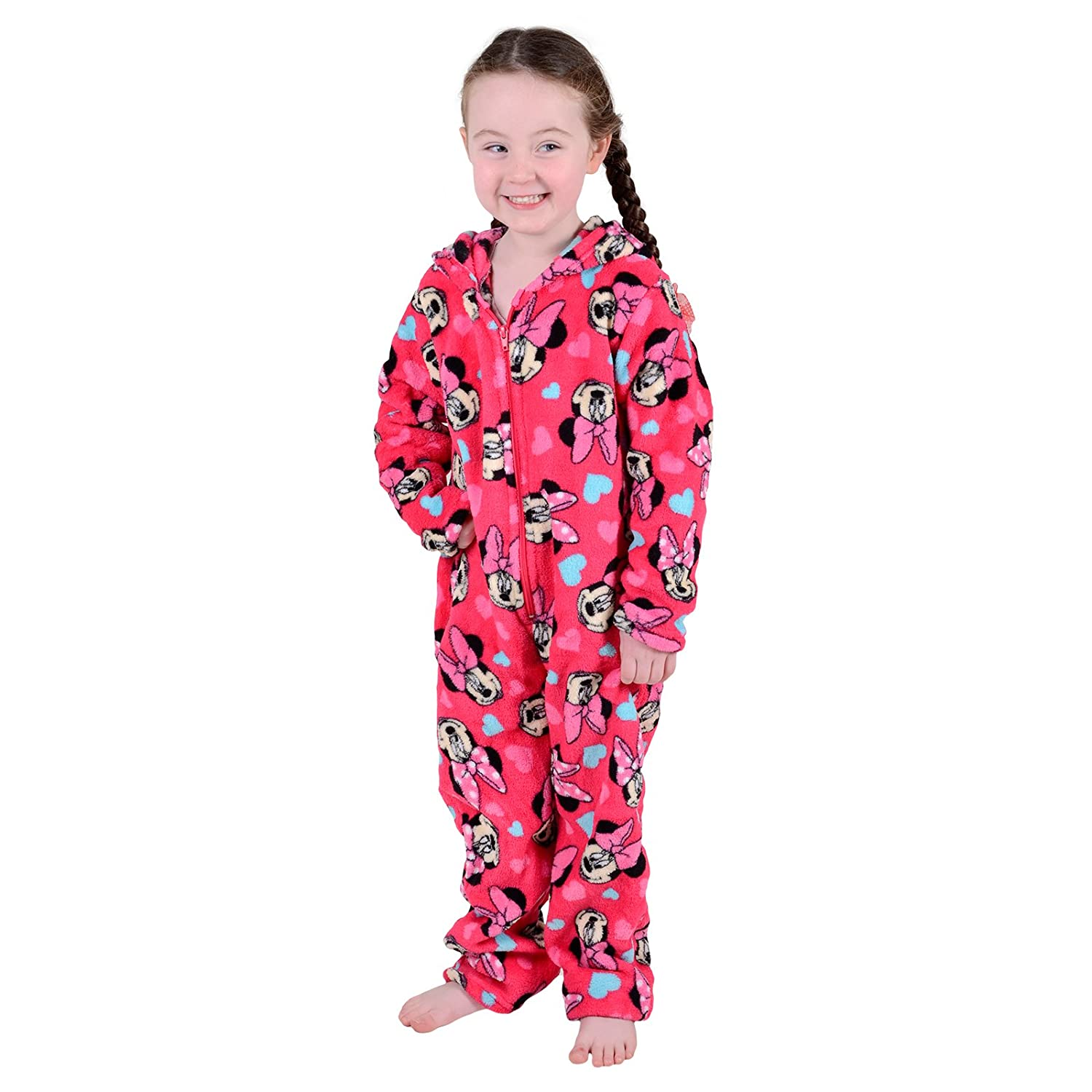 Disney Minnie Mouse Girls Onesie Pyjamas Soft All In One Jump Play Suit Ages 2-7