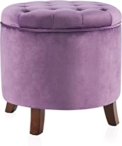 BELLEZE Nailhead Round Tufted Storage Ottoman Large Footrest Stool Coffee Table Lift Top, Purple