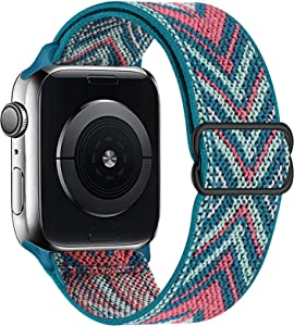 UHKZ Stretchy Solo Loop Compatible with Apple Watch Bands 38mm 40mm 42mm 44mm,Adjustable Braided Pattern Printed Sport Elastic Nylon Wristband for iWatch Series 6/SE/5/4/3/2/1