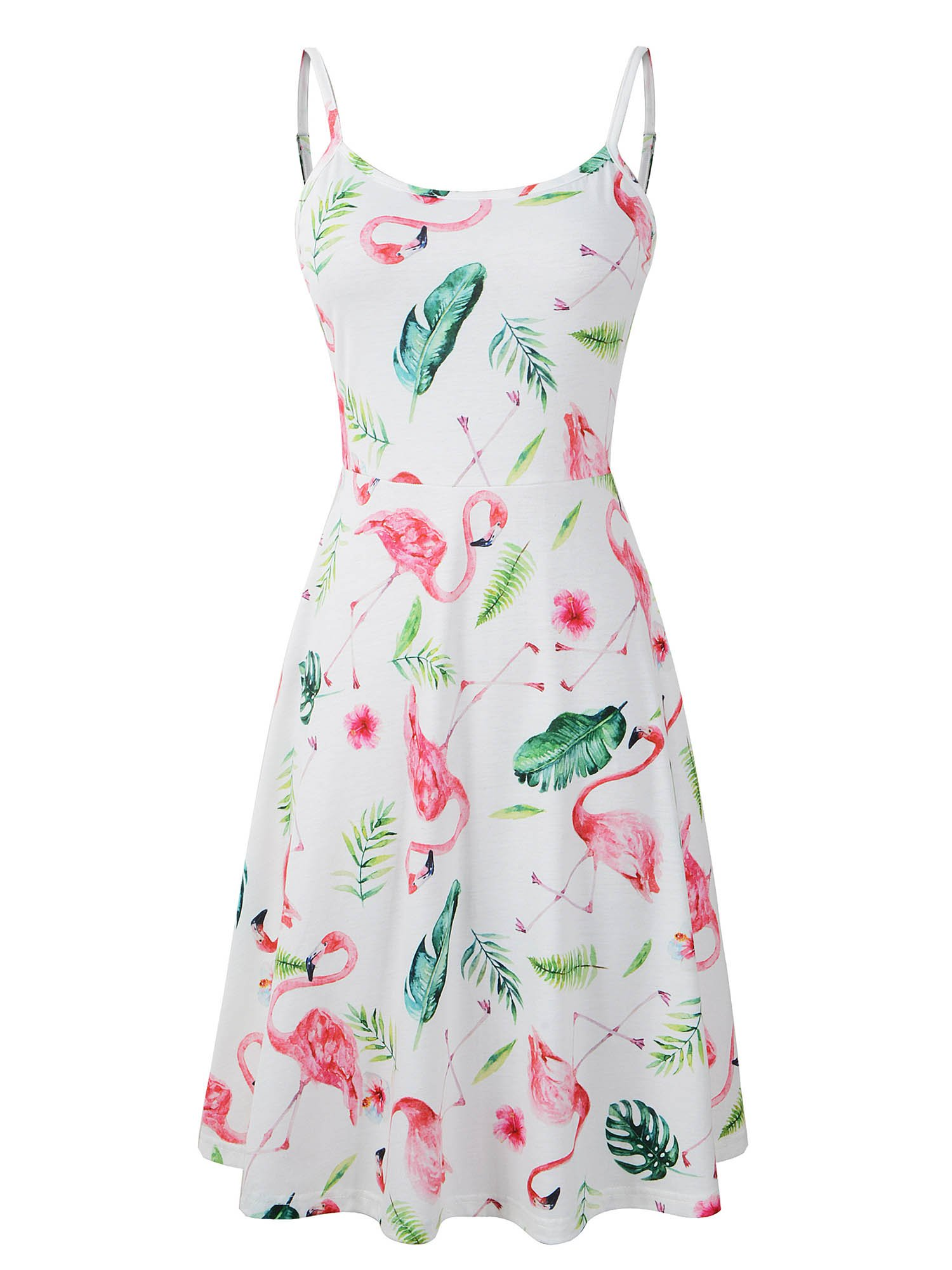Luckco Women's Sleeveless Adjustable Strappy Summer Floral Flared Swing Dress (Medium, FL-12)