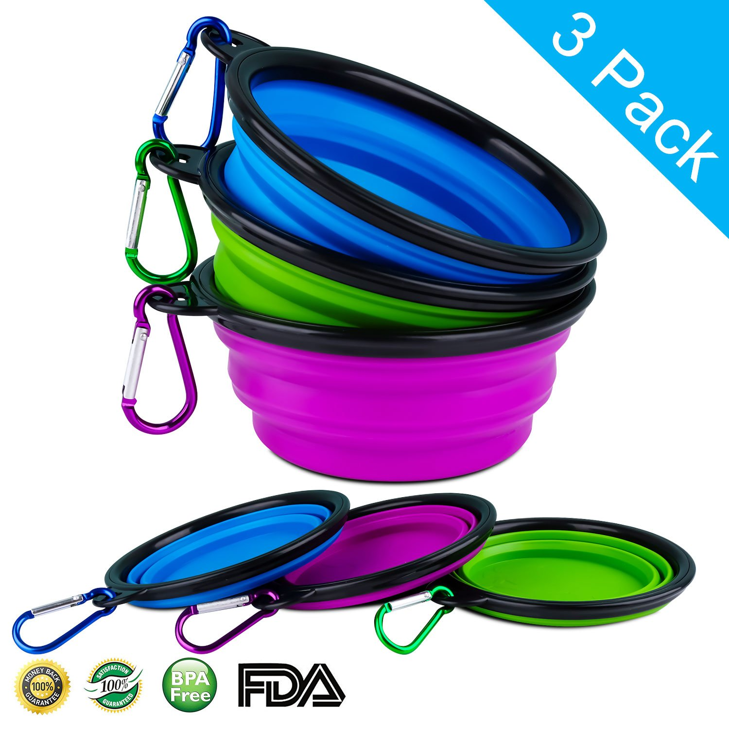 LOGROTATE Collapsible Dog Bowl, Pet Bowl Made of Food-Grade Silicone and BPA-Free&FDA Approved by, Portable Foldable Dog Food Water Feeding Bowl Travel Cat Bowl for Cat Dog Kitten Puppy (3 Pack)