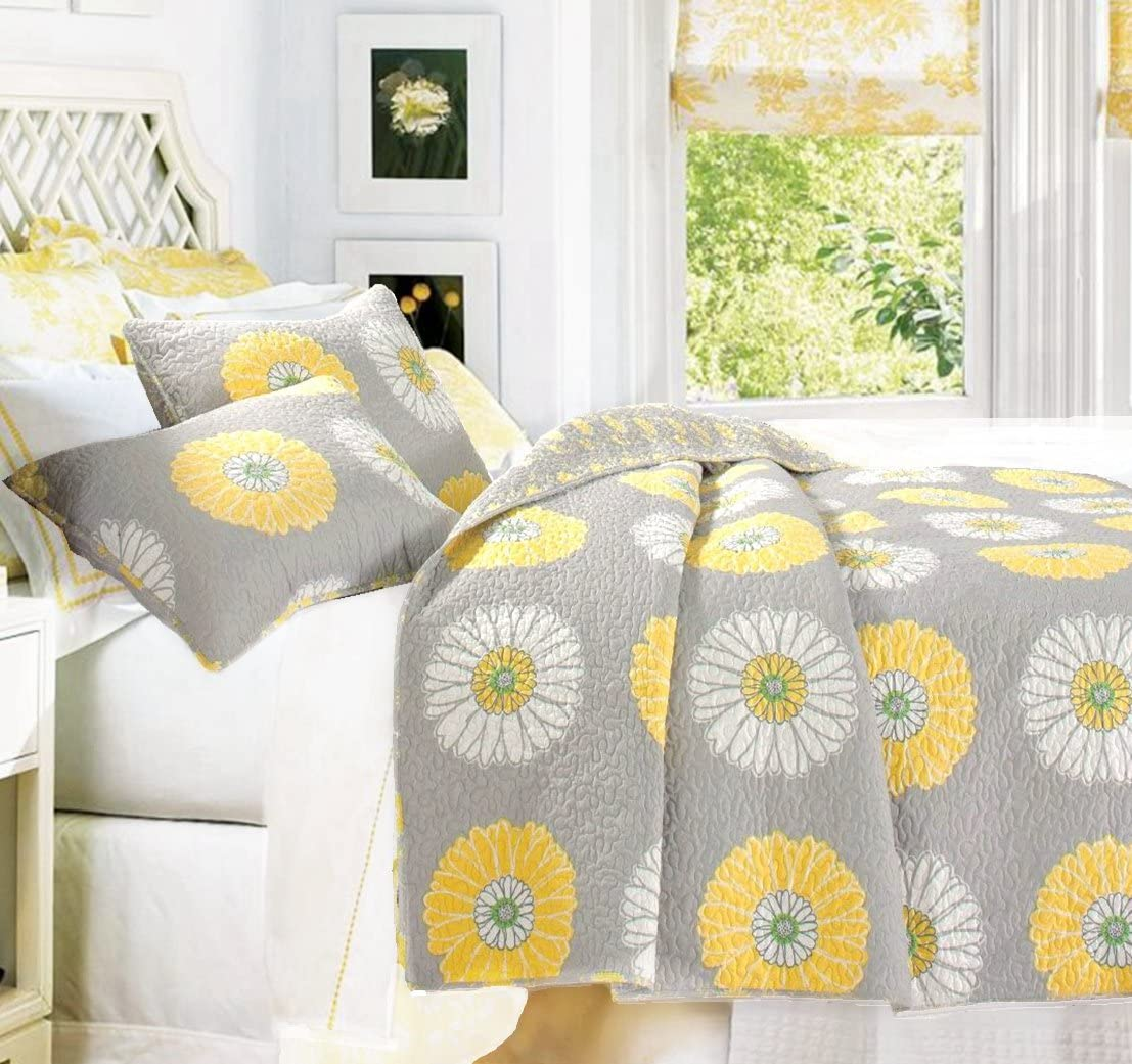 Cozy Line Home Fashions Anya Floral Bedding Quilt Set, Grey Yellow White Sunflower Flower Printed Reversible Coverlet Bedspread for Kids Women Yellow Sunflower, King – 3 Piece