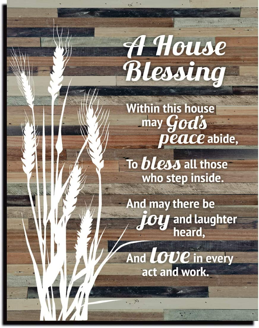 House Blessing Rustic Wood Plaque - Keyhole for Hanging 11.75 x 15 Inch | Vertical Plaques Wall Art Decoration for Your Home or Office | A House Blessing within this house may Gods Peace abide