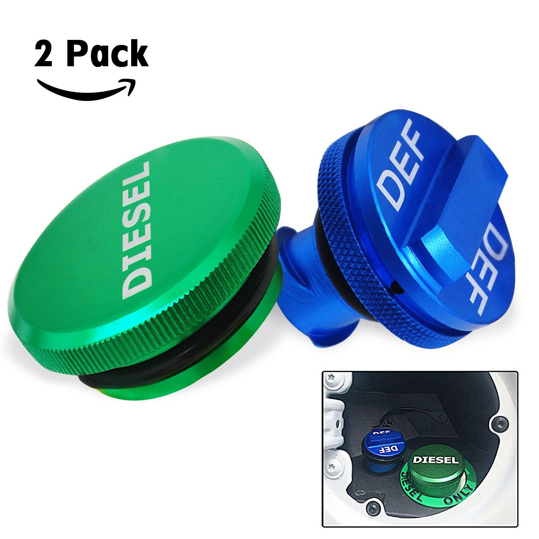 Billet Aluminum Fuel Cap Combo Pack - Magnetic Green Diesel Fuel Cap and Blue DEF Cap for 2013-2017 Dodge Ram Diesel Trucks 1500 2500 3500