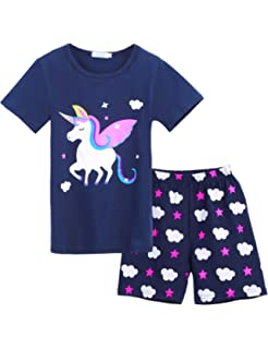 1e8c2800f2c Girls Short Sleeve Pajamas Set Kids Short Pjs Sets Baby Summer Cotton  Sleepwears Toddler PJS Clothes