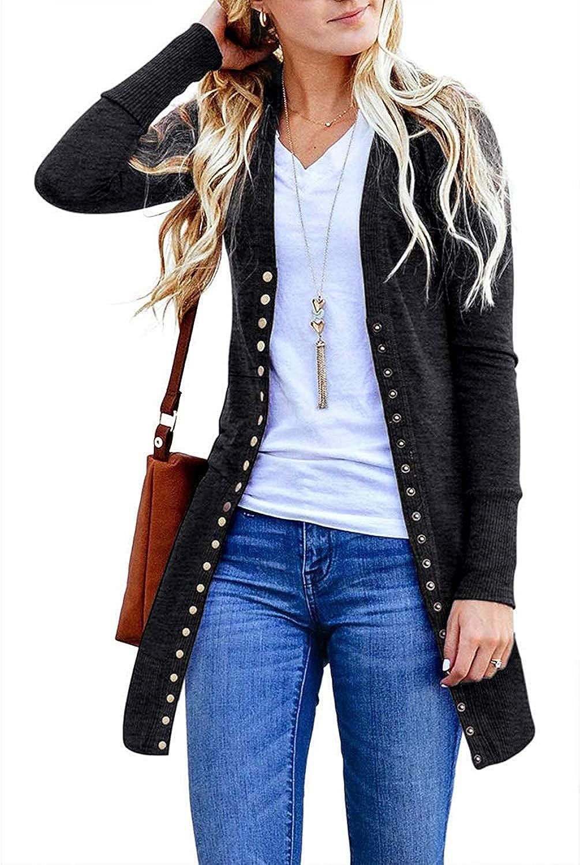 Yknktstc Cardigan Sweaters for Women Long Sleeve Soft Basic V-Neck Button Down Knitwear