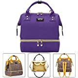 YIMOJI Baby Diaper Bag Backpack Multi-funtcion Waterproof Nappy Changing Backpack with USB Charging Port, Isulated Pockets (Purple)