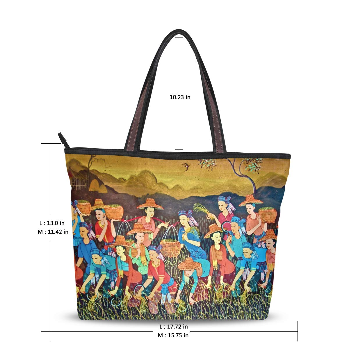Zip Tote Bag Painting Art Thai Style Womens Handbags Shoulder Bags Satchel Purse