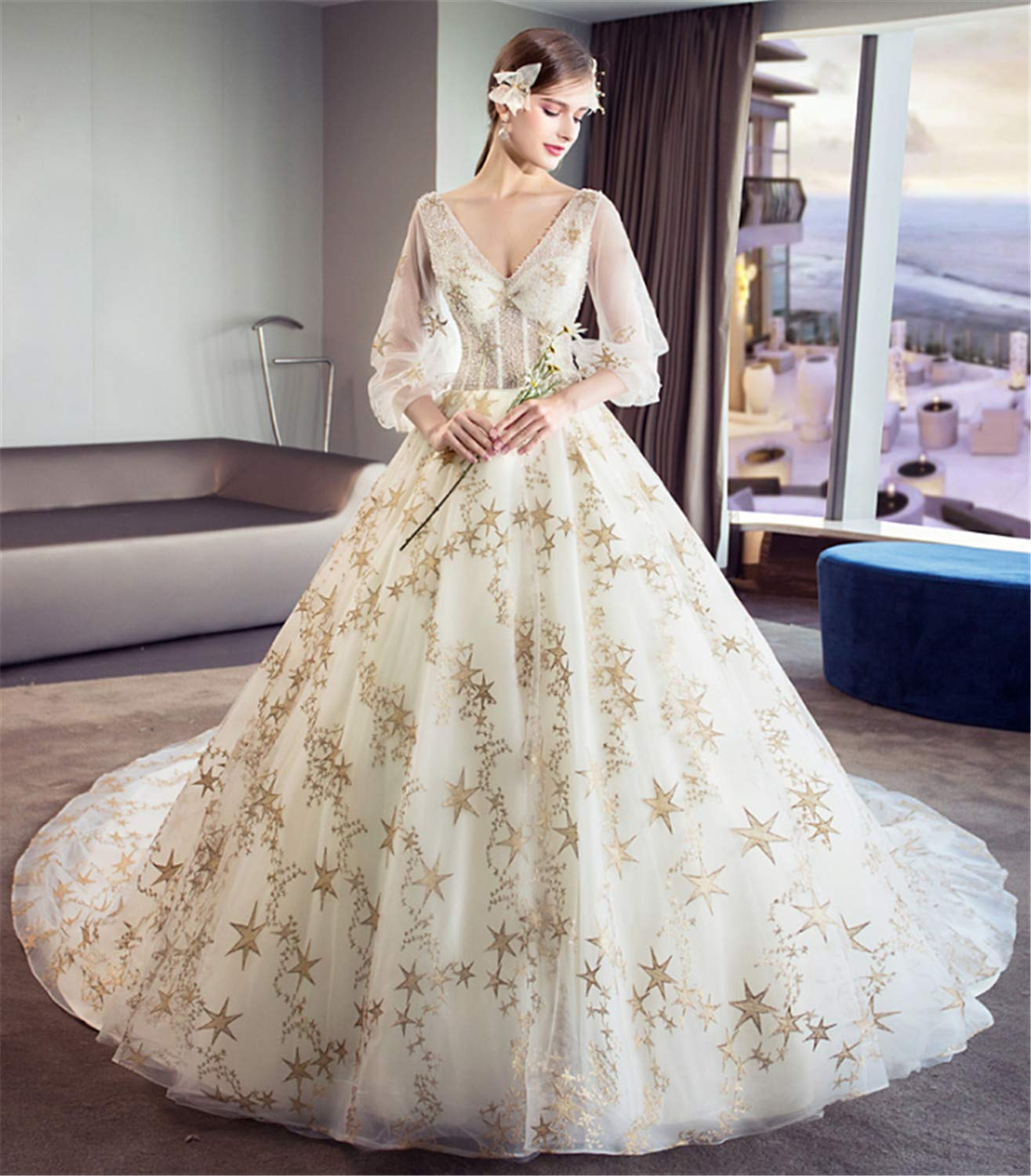 Wedding Dress,Ladies Stylish Wedding Dresswith with Sleeves Perfect Princess Dragged Long Big Trailing Lace Champagne